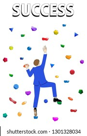 Illustration of a businessman who is climbing on the wall, reaching out for success.