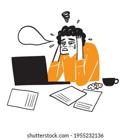 Illustration of a businessman working remotely Emotional regret or sadness, Hand drawn Vector Illustration doodle style