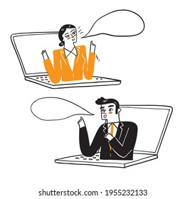 Illustration of a businessman working remotely, Hand drawn Vector Illustration doodle style