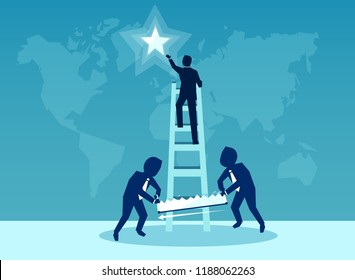 Illustration of businessmen sawing ladder of success of an rival to sabotage his success catching a star from a sky on blue background