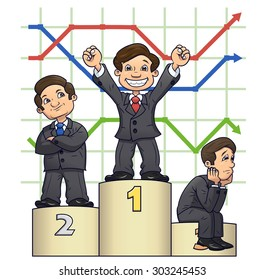 Illustration of the businessmen standing on pedestal after competition on white background