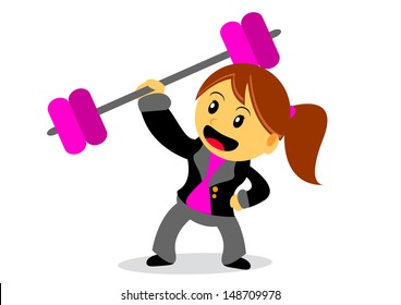 illustration of businesswoman cartoon character with her activity