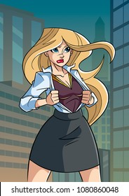 Illustration of businesswoman in city, revealing her true identity of powerful superheroine.