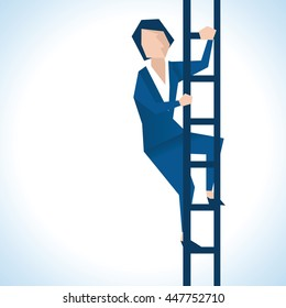 Illustration Of Businesswoman Climbing Ladder
