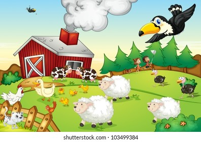 Illustration of a busy farm scene