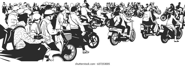 Illustration of busy south east asian street view with motorbikes and mopeds