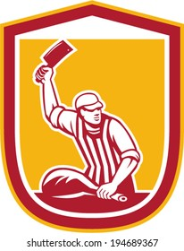 Illustration of a butcher cutter worker holding meat cleaver knife facing side set inside shield crest on isolated background done in retro style.