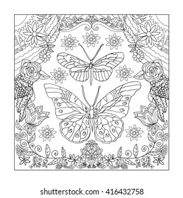 Illustration with butterflies drawings