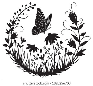 Illustration of butterflies flying in a circle of flowers. Silhouette of a hovering insect in a field of grass. Romantic frame. Ornamental plants in a circle. Line art. Tattoo.