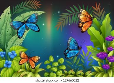 Illustration of butterflies in the garden