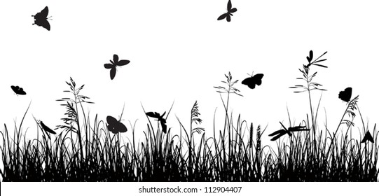 illustration with butterflies in grass silhouette on white background
