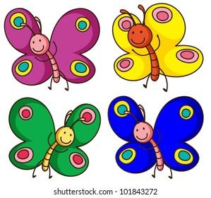 Illustration of butterflies on white