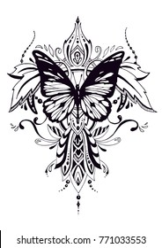 illustration with butterfly