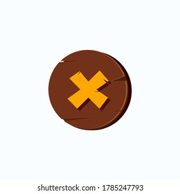 illustration button wood texture for game, cancel button brown color