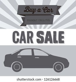 Illustration of buy a car label, car sale,  vector illustration