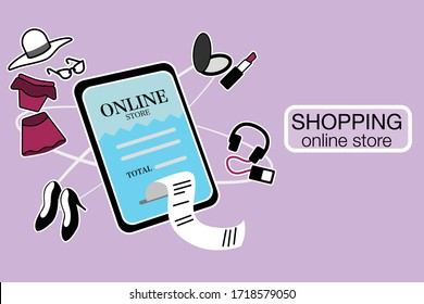 Illustration of buying products from online stores. Vector Online shopping.