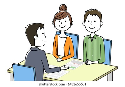The illustration by which a salesman and a visitor sign a contract.