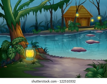 Illustration of a cabin in the woods near a river