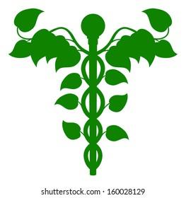 Illustration of a caduceus made up of leaves, DNA or holistic medicine concept