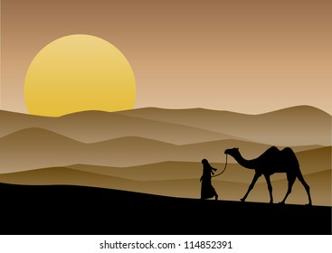 Illustration of a camel and rider in the desert at sunset