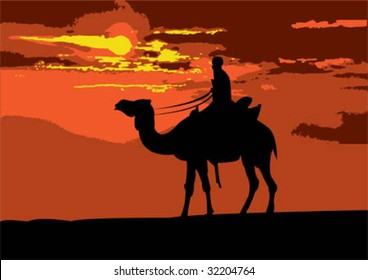 Illustration of a camel rider traveling through the desert on sunset