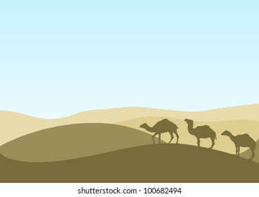 illustration with camel silhouettes in desert
