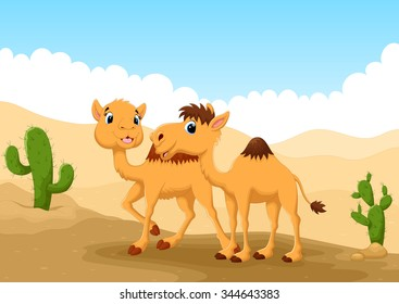 illustration of camels in desert