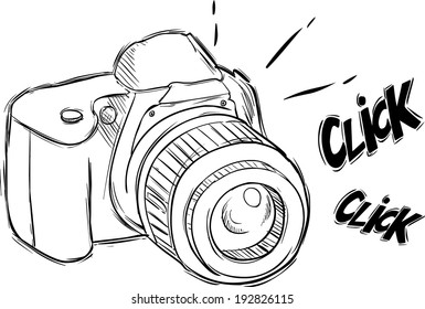 Illustration of camera in sketch style