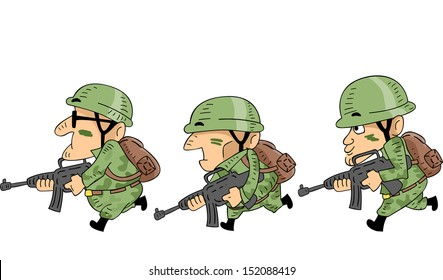 Illustration of Camouflaged Soldiers Mounting an Attack