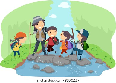 Illustration of Campers Crossing a River