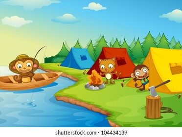 Illustration of camping animal characters