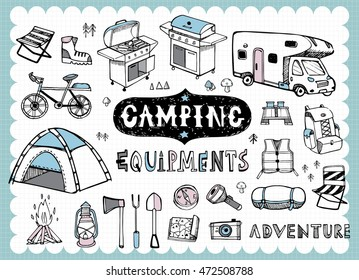 Illustration of camping equipment including stoves, a camping car and a tent in hand drawn style and on the grid background.