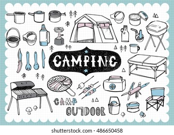 Illustration of camping equipment including stoves, cooking utensils and a tent in hand drawn style and on the grid background.