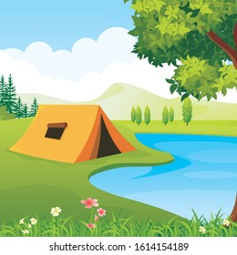 Illustration of Camping Site. with nature scenery landscape, such us tree, grass, mountain, Cloud and blue sky.