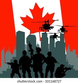 illustration of Canadian soldier standing with rifle on city backdrop