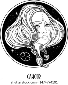 Illustration of Cancer astrological sign as a beautiful girl. Zodiac vector drawing isolated in black and white. Future telling, horoscope, alchemy, spirituality. Coloring book for adults.