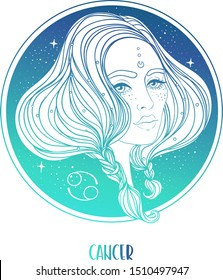 Illustration of Cancer astrological sign as a beautiful girl. Zodiac vector illustration isolated on white. Future telling, horoscope, alchemy, spirituality, occultism, fashion woman.