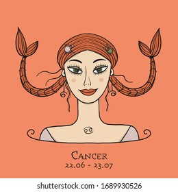 Illustration of Cancer zodiac sign. Element of Water. Beautiful Girl Portrait. One of 12 Women in Collection For Your Design of Astrology Calendar, Horoscope, Print. Vector illustration