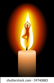 Illustration of a candle with woman silhouette doing yoga, a concept illustration of serenity