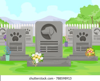 Illustration of a Canine Cemetery with Dog, Paw Print and Flowers in Tombstone