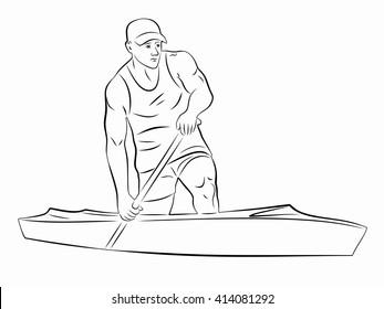 illustration Canoe Sprint . black and white sketch, white background