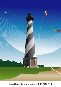 Illustration of the Cape Hatteras Lighthouse with a kite, gulls and sand.