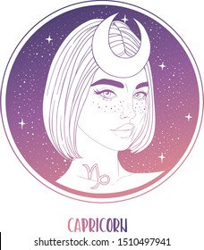 Illustration of Capricorn astrological sign as a beautiful girl. Zodiac vector illustration isolated on white. Future telling, horoscope, alchemy, spirituality, occultism, fashion woman.