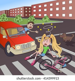 Illustration of a car accident at the crossroads. Car and bicycle. Swearing man. Shocked girl. The fall from the bike.