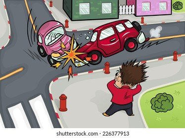 Illustration of a car accident at the crossroads. Crash and frightened man at the crossroads.