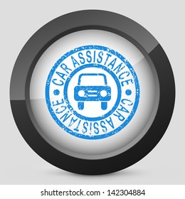 Illustration of car assistance print with grunge effects