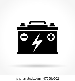 Illustration of car battery icon on white background