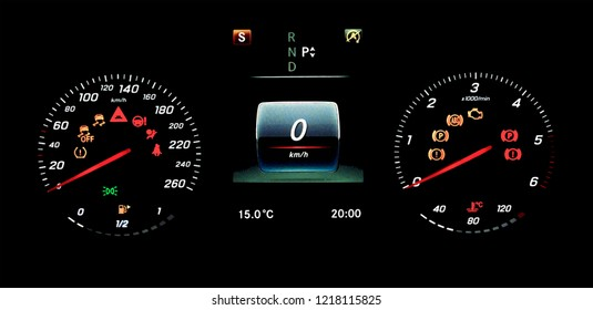 Illustration of a car counter panel with speedometer, tachometer, odometer, fuel gauge and open door indicator. Modern digital car display.