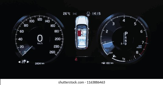 Illustration of a car dashboard panel with speedometer, tachometer, odometer, fuel gauge and open door indicator. Modern digital car display.