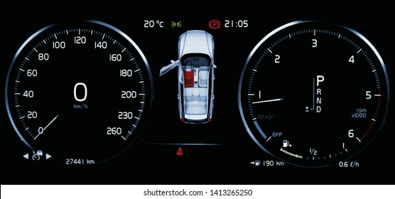 Illustration of car dashboard panel with speedometer, tachometer, odometer, fuel gauge, open door indicator, seat belt reminder and gear position indicator. Modern car digital LCD instrument cluster.